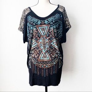 Vocal Embellished Tunic Tee with Leopard Accents